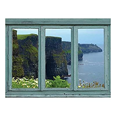 Classic Artwork, Charming Style, Green Cliffs of Ireland Facing The sea Misty Spring Morning Seabreeze Wall Mural