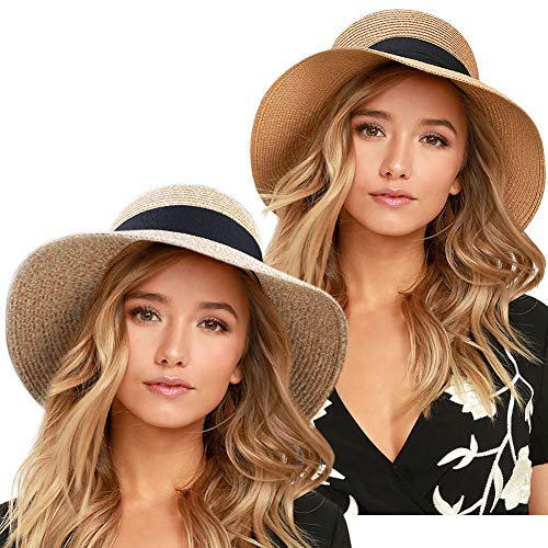 FURTALK Womens Beach Sun Straw Hat UPF50 Travel Foldable Summer Hat (Large Size (22.4