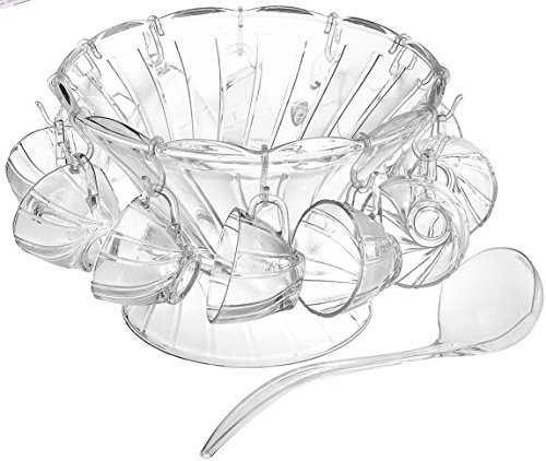 Glass Punch Bowl 27 Piece Set Large & Small Bowl, Juice Cups, Hooks and Ladle