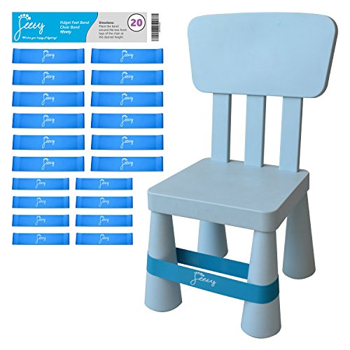Chair Bands for ADHD Kids - (20-Pack) Bouncy Kick Fidgets for Elementary, Middle, High School Students and Adults - Best for Classroom Chairs and Desk - (Light Blue) Fidget Feet Band by Feety by Feety
