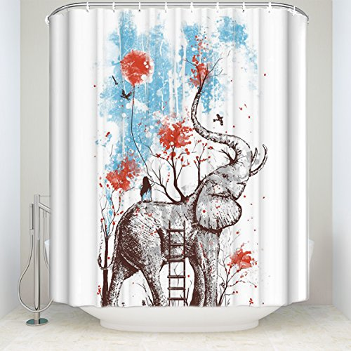 LALADecor Funny Shower Curtain Elephant Playing With Girl Art Painting Bathroom Decoration Polyester Fabric Shower Curtains 36 x 72 inch