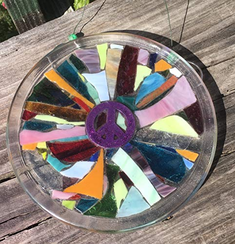 Purple Peace Sign Stained Glass Window Art Sun Catcher by Mountain Mosaics (Image #3)