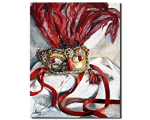 Mardi Gras Italian Masquerade Mask Art Print Giclee, Red Gold Decor Gallery Wall, size mat option