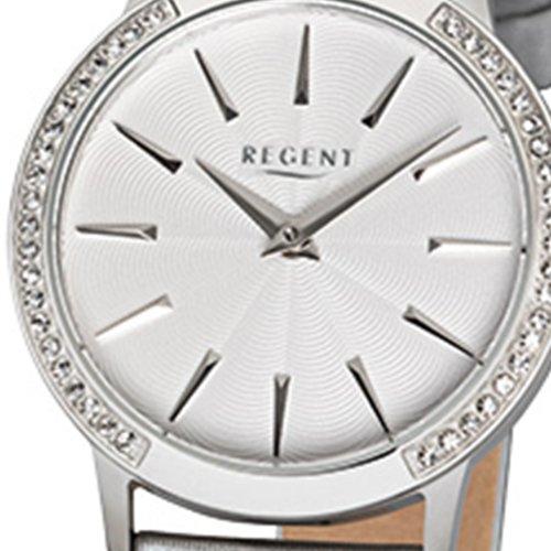 Regent Leder Silber Damen Elegant Quarz Armband Armbanduhr Analog XZOPklwiuT