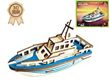 model boats kits to build wood - Dlong 3D DIY Assembly Construction Jigsaw Puzzle Handmade Educational Woodcraft Set Model Kit Toy for Adult and Children (Yacht)
