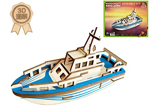 Dlong 3D DIY Assembly Construction Jigsaw Puzzle Handmade Educational Woodcraft Set Model Kit Toy for Adult and Children (Yacht)