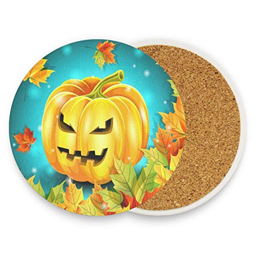 Halloween Pumpkin And Autumn Leaves Coasters, Prevent Furniture From Dirty And Scratched, Round Drink Coasters Set Suitable For Kinds Of Mugs And Cups, Living Room Decorations Gift Set Of 4 ()