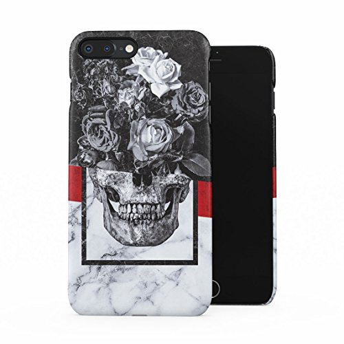 Floral Roses Human Skull Black & White Marble Stone Plastic Phone Snap On Back Case Cover Shell for iPhone 7 Plus & iPhone 8 -