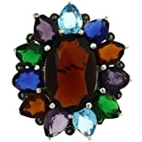 Sterling Silver Marcasite Large Flower Brooch Pin w/ Oval & Pear Cut Multi Color Stones, 1 9/16 in. (40mm)