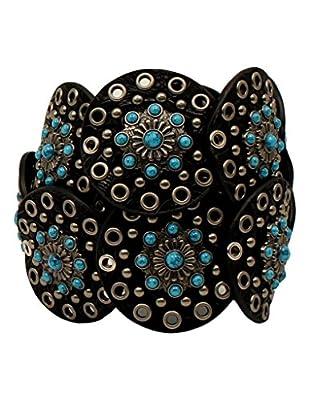 Nocona Women's Wide Floral Discs Belt, Black, S