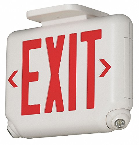 Dual-Lite EVCURWD4 LED Exit Sign & Emergency Light Combo, 1.7W Red Letters Remote Damp Listed - (Dual Lite Emergency Light)