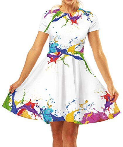 GLUDEAR Women's Print Midi Dress Short Sleeves A-line Cocktail Party Dress,Painting,L/XL]()
