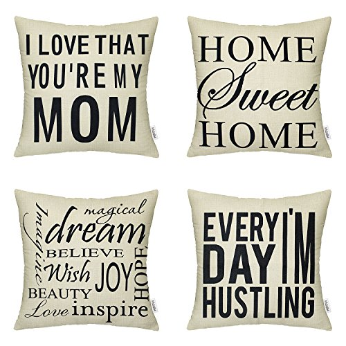 HIPPIH Mother's Day Pillow Cover - 4 Packs 18 X 18 Inch Cott