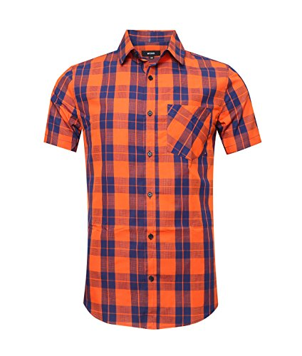 NUTEXROL Men's Short Sleeve Quick Dry Work Button Down Plaid Casual Shirt Orange&Blue3XL