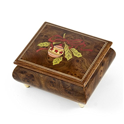 Handcrafted 18 Note Sorrento Music Box with Christmas Theme Wood Inlay of a Christmas Ornament - Reich Mir Die Hand Mein Laben - SWISS (Mira Wood Box)