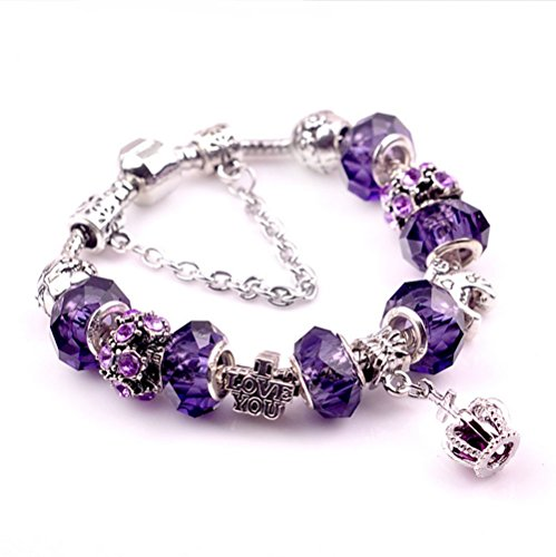"Price comparison product image Gorgeous Jewelry Crown Pendant Carving ""I Love You"" Letter Purple Crystal Lover Bracelets"