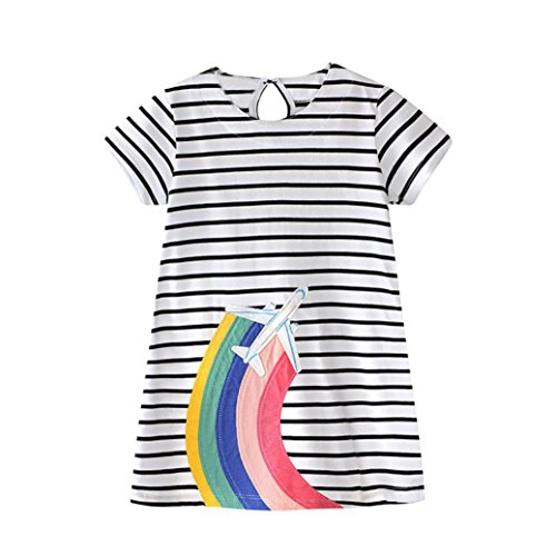 Girl Dresses❀Orangeskycn❀Toddler Baby Kid Rainbow Embroidery Dress Stripe Dress Outfit Clothes(18M-6Y) (White, 5 Years) (Rainbow Denim)