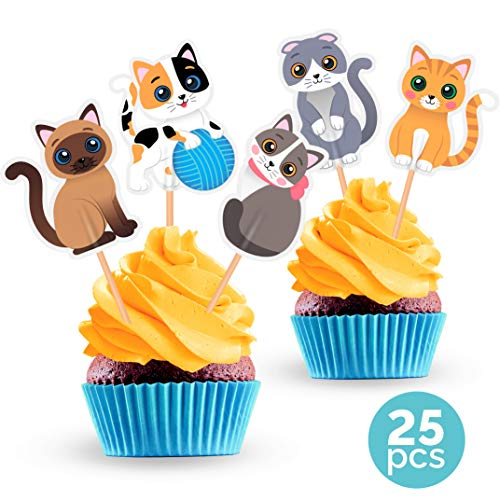 Cat Cupcake Toppers - Kitten Pet Party Decorations Supplies - 25 PCS