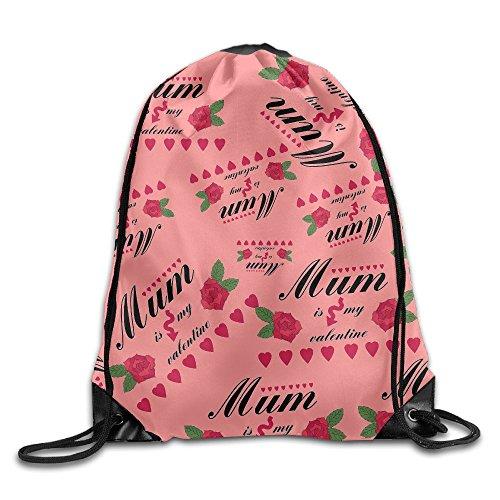 Mum Is My Valentine Print Drawstring Backpack Lightweight Shoulder Bags Backpack Bag Mum Drawstring