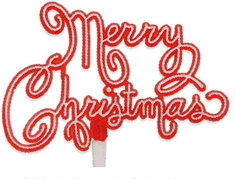 Creative Party BX343 Red and White Merry Christmas Script Cake Topper-1 Pc