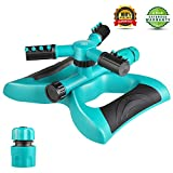 Lawn Sprinkler, Automatic 360°Rotating Garden Sprinkler Heads Adjustable Garden Watering Sprinklers with 3600 SQ FT Coverage Lawn Irrigation System Leak Free Design Durable 3 Arm Sprayer for Kids Play