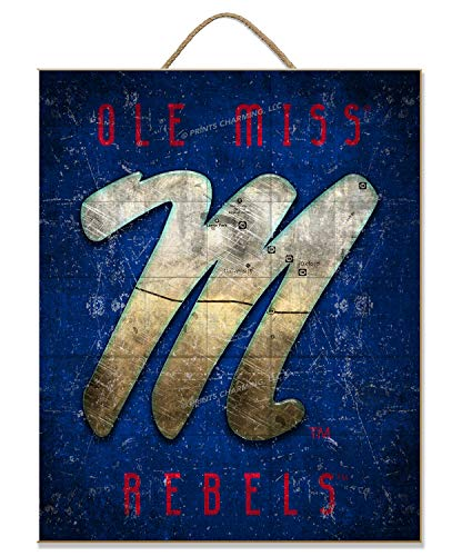 NCAA Ole Miss Rebels | Logo | Map | Sign | Wood | Rope Hanger