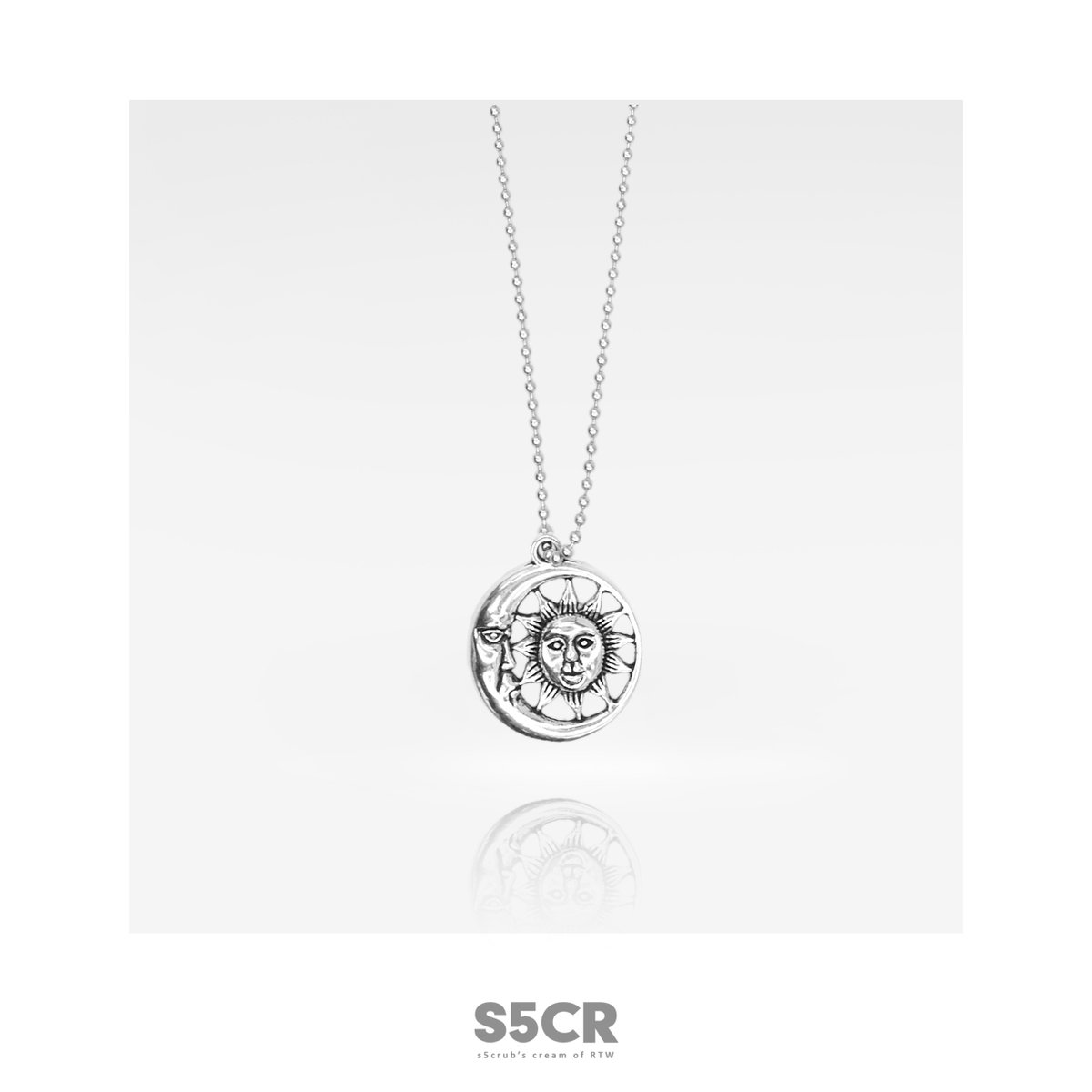 usongs Custom 5/moon and wave beads Small round beads silver moon necklace pendant everyday easy take stable