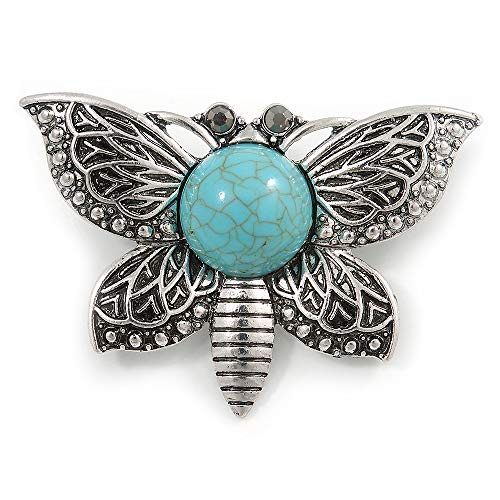 (Avalaya Vintage Inspired Butterfly Brooch with Simulated Turquoise Stone in Aged Silver Tone - 55mm Across)