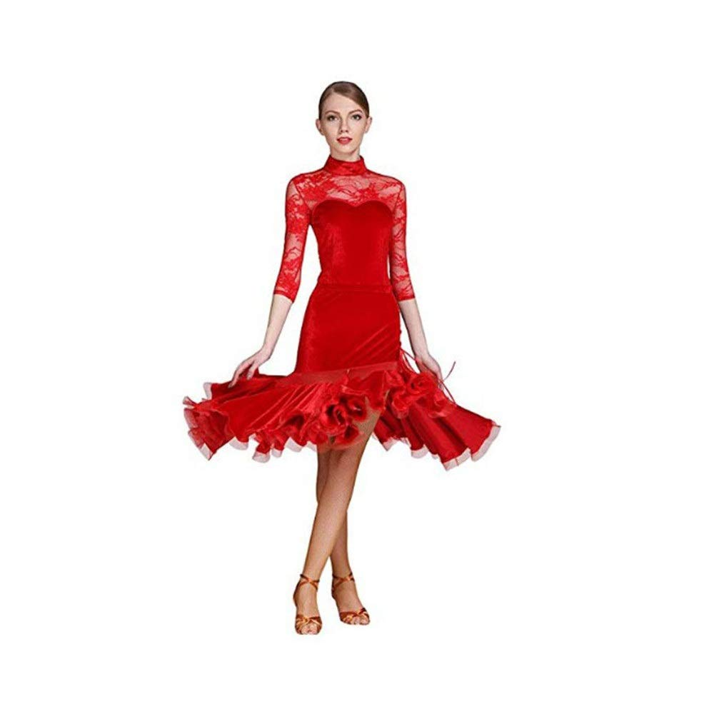Red Large Women's Dancing Dresses Women High Collar Long Sleeve Lace Splice Latin Dance Dress Suit Ballroom Dance Costume Set Party Performance Skirt Competition Dancewear Outfits ( color   Black , Size   L )