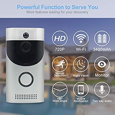 AMCSXH HD 720P Smart Wireless Video Doorbell, Real-Time Two-Way Talk and Video with PIR Motion Detection/Night Vision, for Home Security Camera Free Cloud Services, Without Battery
