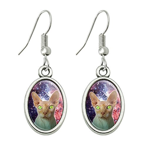 Sphynx Space Cat Novelty Dangling Drop Oval Charm Earrings - Sphynx Cats In Costumes