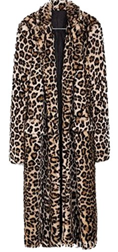 Women's Sexy Elegant Vintage Leopard Print Lapel Faux Fur Long Maxi Pea Coat Jacket (Fur Plus Vest Size Faux Long)