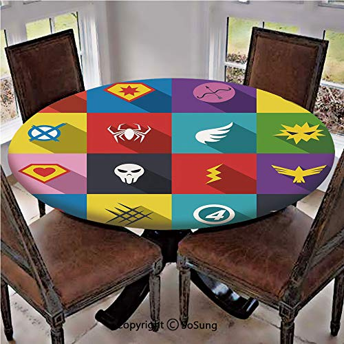 """Elastic Edged Polyester Fitted Table Cover,Retro Superhero Badge Patchwork Style Several Logo Signs Comic Humor Artwork Decorative,Fits up 40""""-44"""" Diameter Tables,The Ultimate Protection for Your Tabl"""