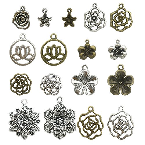 (100g Flower Charms Collection - Mixed Antique Silver Bronze Peach Blossom Rose Flower Plum Rose Cherry Hollow Metal Alloy Pendants (HM93))