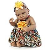 """Minidiva Reborn Baby Doll,Black Alive 100% Handmade Full Soft Silicone 11"""" /27cm Lifelike Newborn Doll Girl for Children"""
