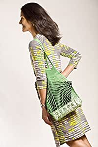French Knit Reusable Cotton Eco Grocery String Bag Hand-Knit and Dyed in France (Shoulder Handle, Green)