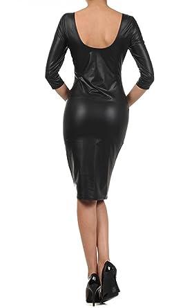 8b0c46b04bb5 Amazon.com  Ola Mari Faux Leather Midi Dress  Clothing