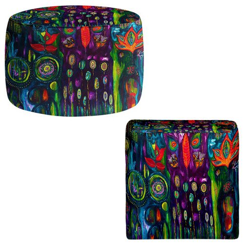 DiaNoche Designs Foot Stools Poufs Chairs Round or Square from by Michele Fauss - The Believers Garden from DiaNoche Designs