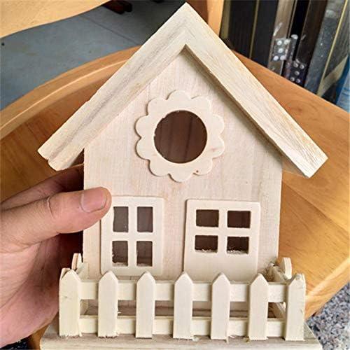 Juman634 DIY Vogelhaus Vintage Nest Box Holz Nest Zucht Box Dach Dekoration Ornamente Montieren Vogel Kleiderbügel für Kleine Vögel