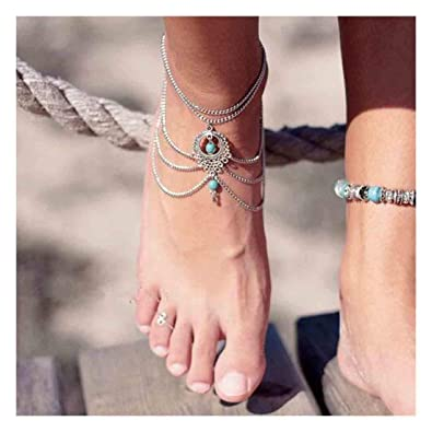 Ankle Beach Sandal Barefoot Women Turquoise Anklet Foot Chain Bracelet Jewelry