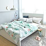 Leadtimes Cotton Air Conditioning Quilt Reversible Printing Bed Blanket for Kids, Lightweight Children Comforter for Summer, Queen Size