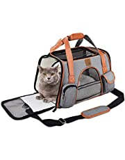 FRUITEAM Cat Soft-Sided Travel Carriers - Airline Approved Pet Travel Bag - Foldable Cats/Dogs/Puppy/Kitten/Rabbits Carry-on, Secure Button Zipper, Adjustable Shoulder Straps - Small Pet Handbag -18 x 10 x 11 inches(Gray)