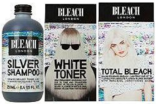 Bleach London Silver Shampoo x 250ml & Bleach London White Toner Kit & Bleach London Total Bleach Kit by Bleach London
