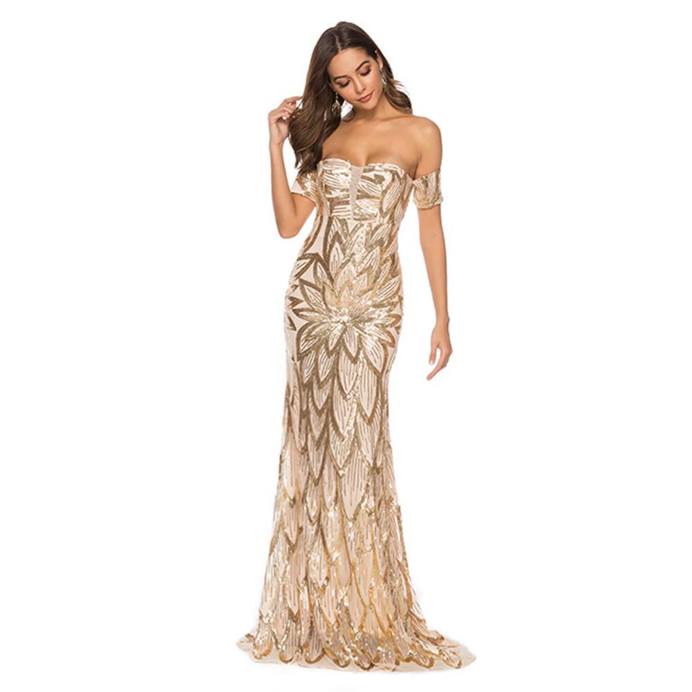 YCCDDY Vestido Largo de Espalda Abierta con Falda Larga Envuelta,S ...