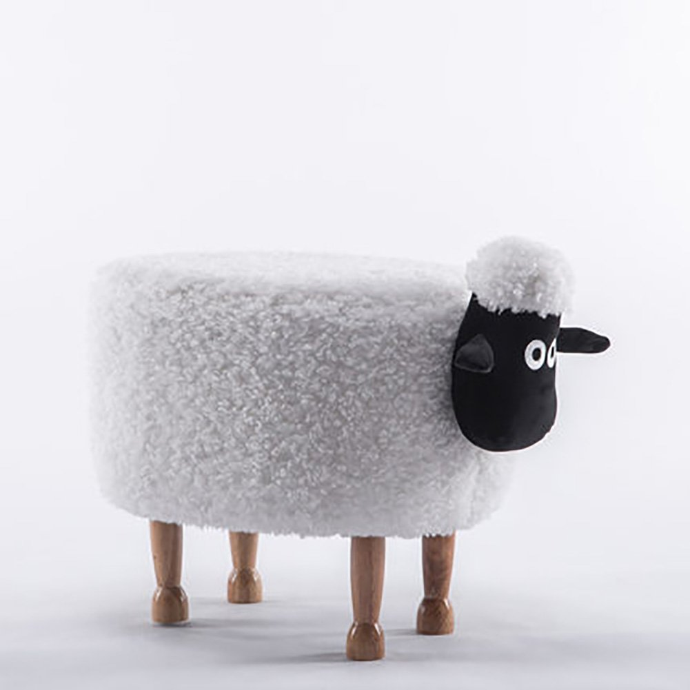 D&L Children Animals Sheep Footstool, Ottoman Creative Cute Stool For Kids 4 Legs Solid Wood Upholstered Shoe Stool-A L64xW37xH46cm MNJING