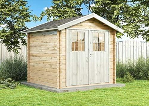 Alpholz - Cobertizo de madera de abeto para jardín con tejado de cartón natural, sin tratamiento de color: Amazon.es: Jardín