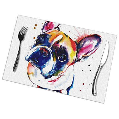 Because Placemats,French Bulldog Pit Bull Boston Terrier Heat-Resistant Washable Cotton Placemats,Polyester Linen Dining Table Mats for Kitchen,Set of 6 Boston Terrier Pit Bull