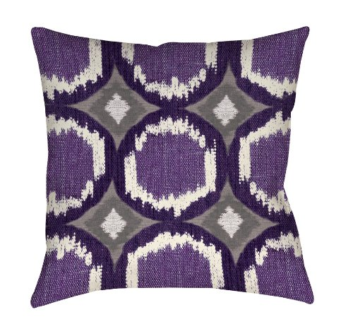 Purple Toss Pillow (Manual Woodworkers & Weavers Square Throw Pillow, 16-Inch, Circle Ikat Plum)