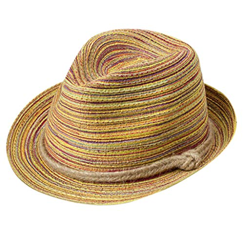 (iPOGP Women Hat Summer Boho Lady Colorful Sunscreen Cap Striped Foldable Straw Beach Holiday Lovely Hat(A,))