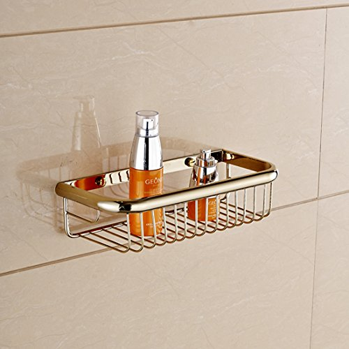 Solid Brass Rectangle Shower Wire Basket Wall Mounted Shower Caddy Soap Holder Storage Shelf (30cm13cm7cm, Polished Brass finish) by GUMA